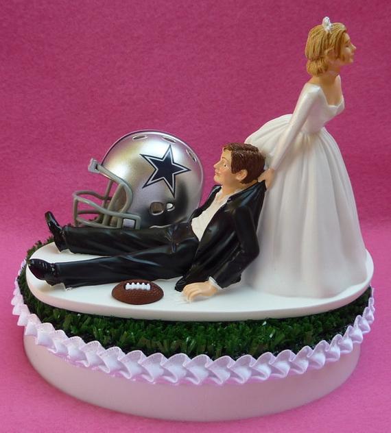Dallas Wedding Cakes  Wedding Cake Topper Dallas Cowboys Football Themed Sports Turf