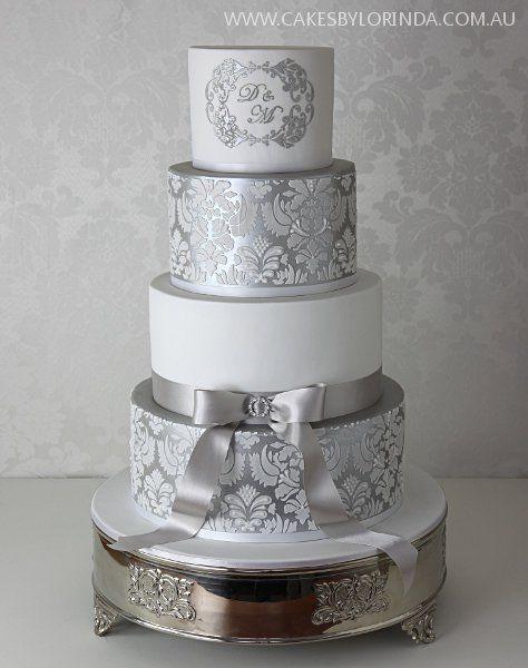 Damask Wedding Cakes  2 damask stencils for wedding cakes sugarcraft plantillas