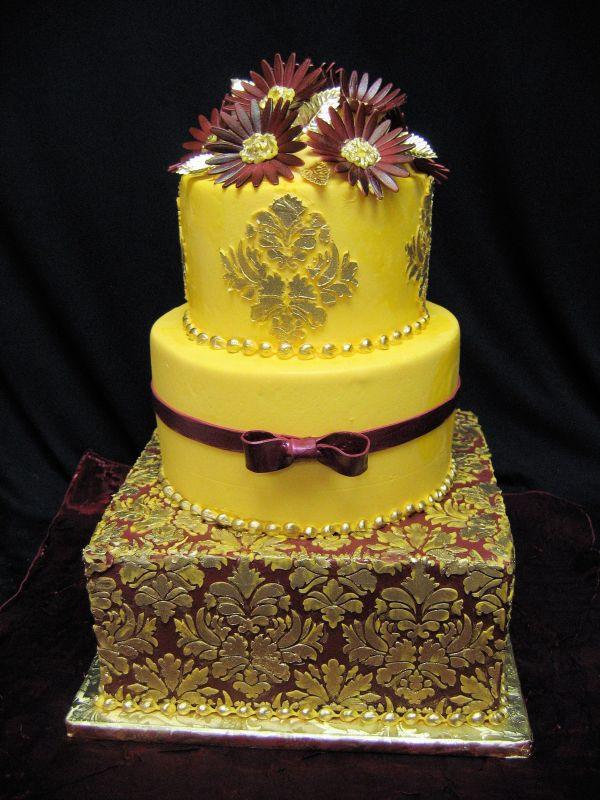 Damask Wedding Cakes  Wedding Cakes Yellow Damask Wedding Cakes