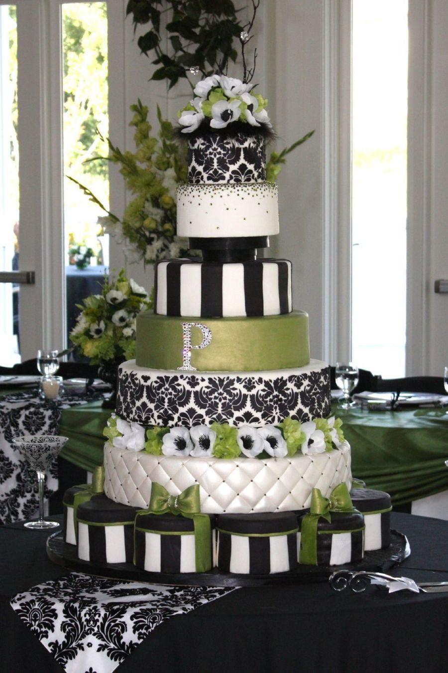 Damask Wedding Cakes  Green Black And White Damask Wedding Cake CakeCentral