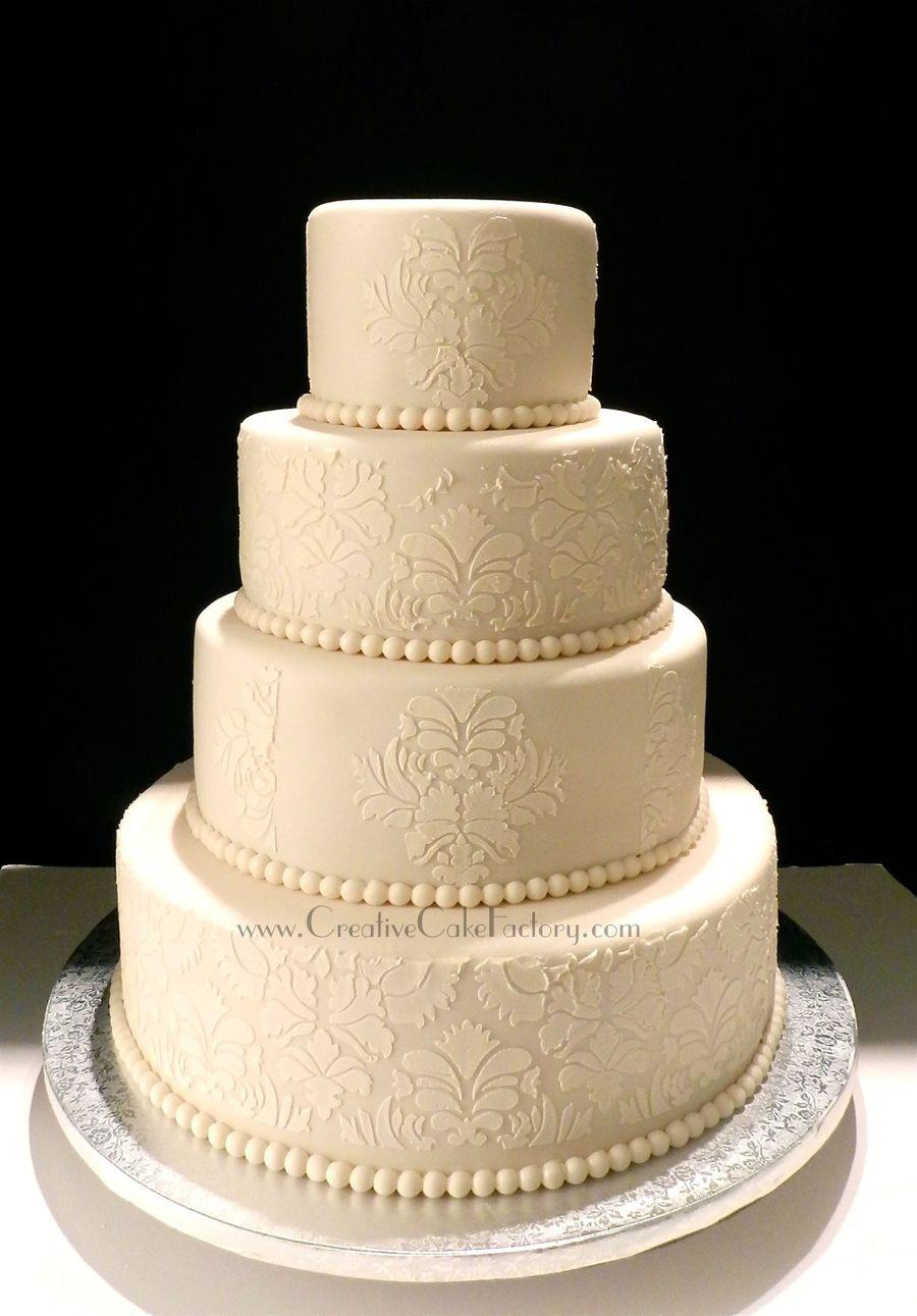 Damask Wedding Cakes  Ivory Damask Wedding Cake CakeCentral