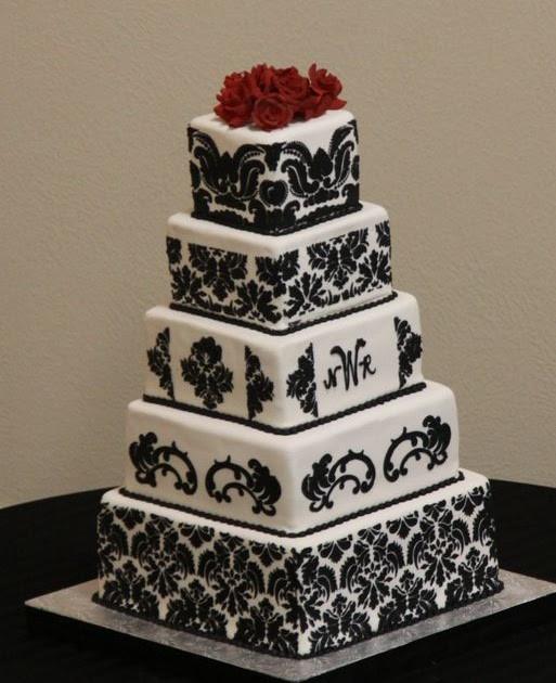 Damask Wedding Cakes  Wedding Cakes Square Damask Wedding Cakes