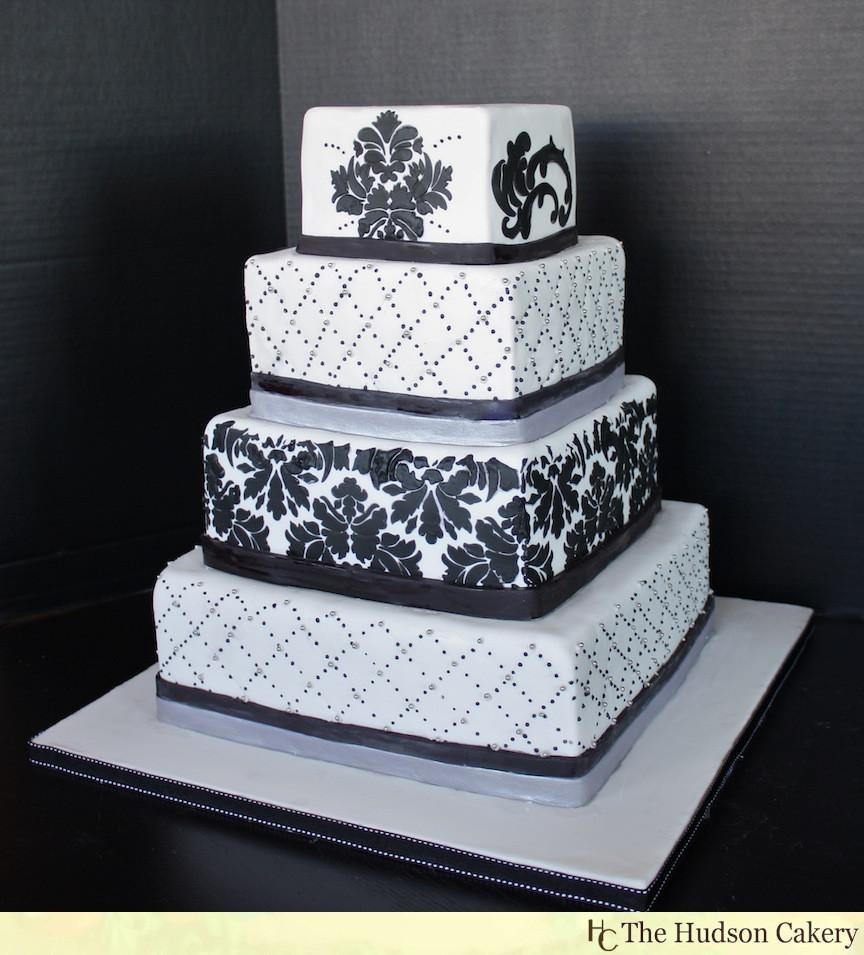 Damask Wedding Cakes  Black And White Wedding Cakes Wedding Plan Ideas