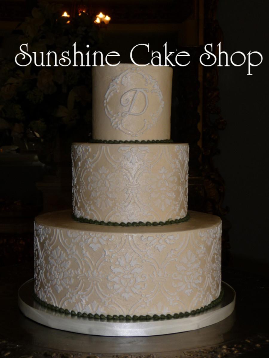 Damask Wedding Cakes  Damask Pattern Wedding Cake CakeCentral