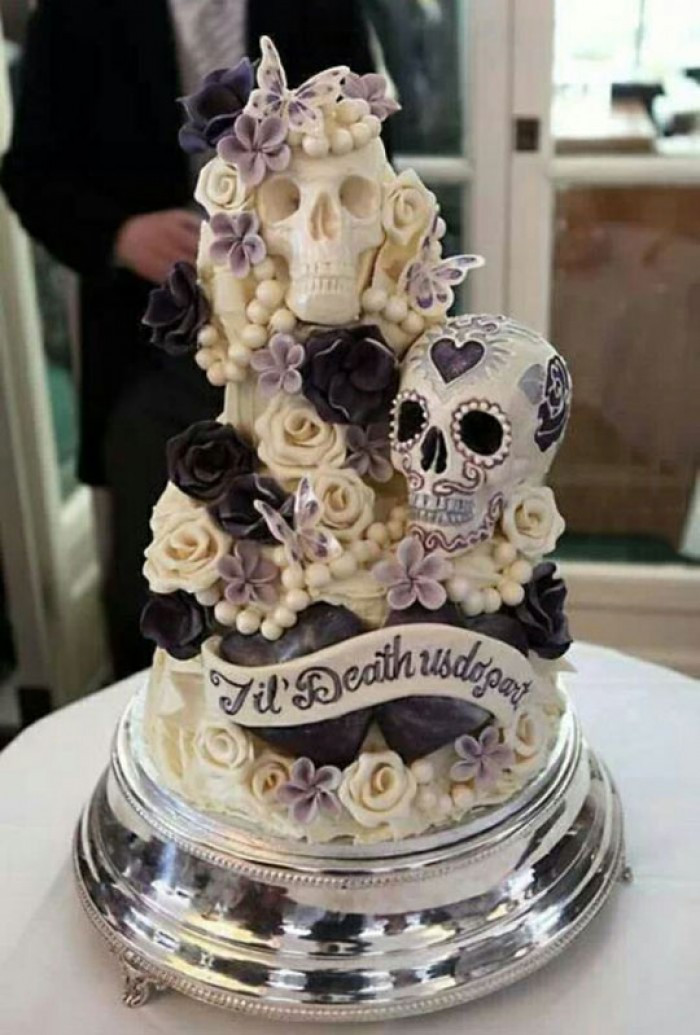Day Of The Dead Wedding Cakes  Day of the Dead Wedding Cake by Choccywoccydoodah