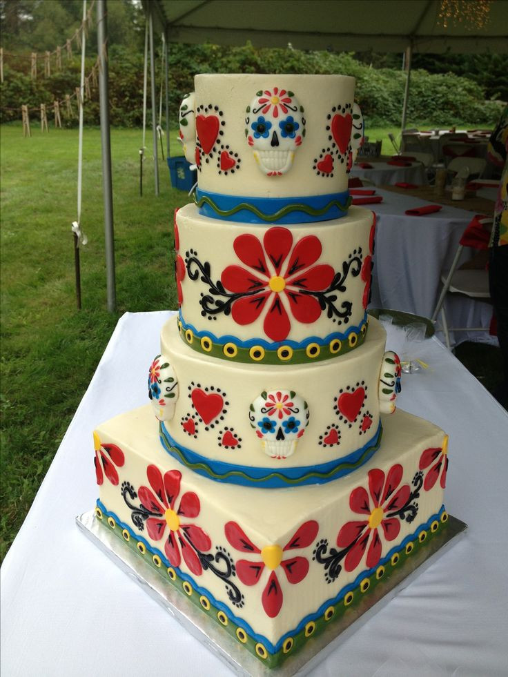 Day Of The Dead Wedding Cakes  Day of the Dead Wedding Cake osted in buttercream with
