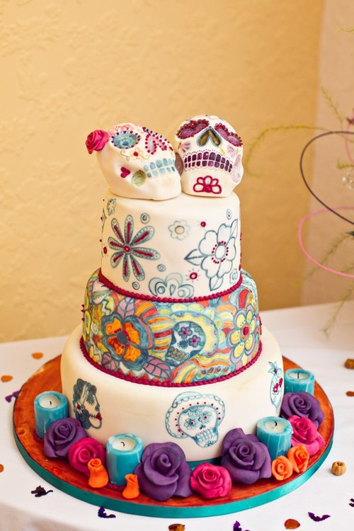 Day Of The Dead Wedding Cakes  sugar skull wedding cake