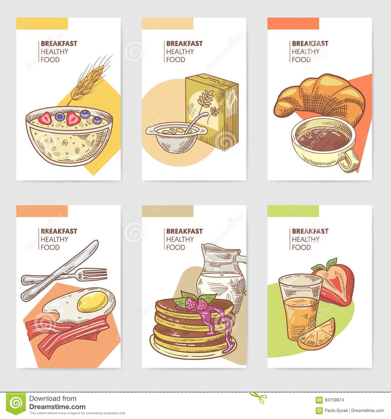 Denny'S Healthy Breakfast Menu  Cornflakes Cartoons Illustrations & Vector Stock