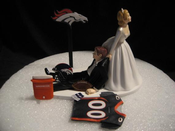 Denver Wedding Cakes  Denver Broncos Wedding Cake Topper Bride Groom by finsnhorns
