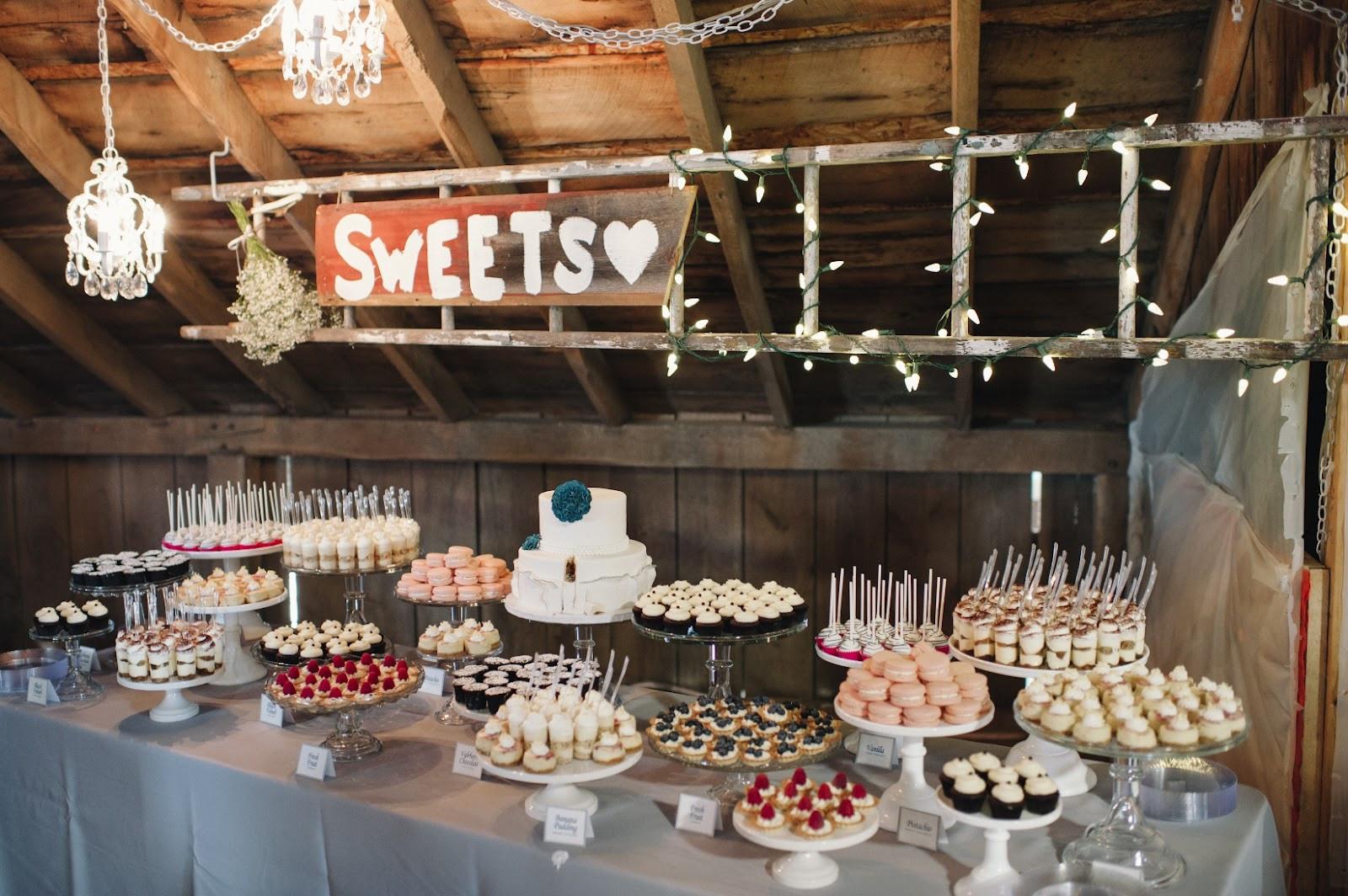 Dessert Table Weddings  cocoa & fig Barn Wedding Mini Dessert Table and 2 Tier
