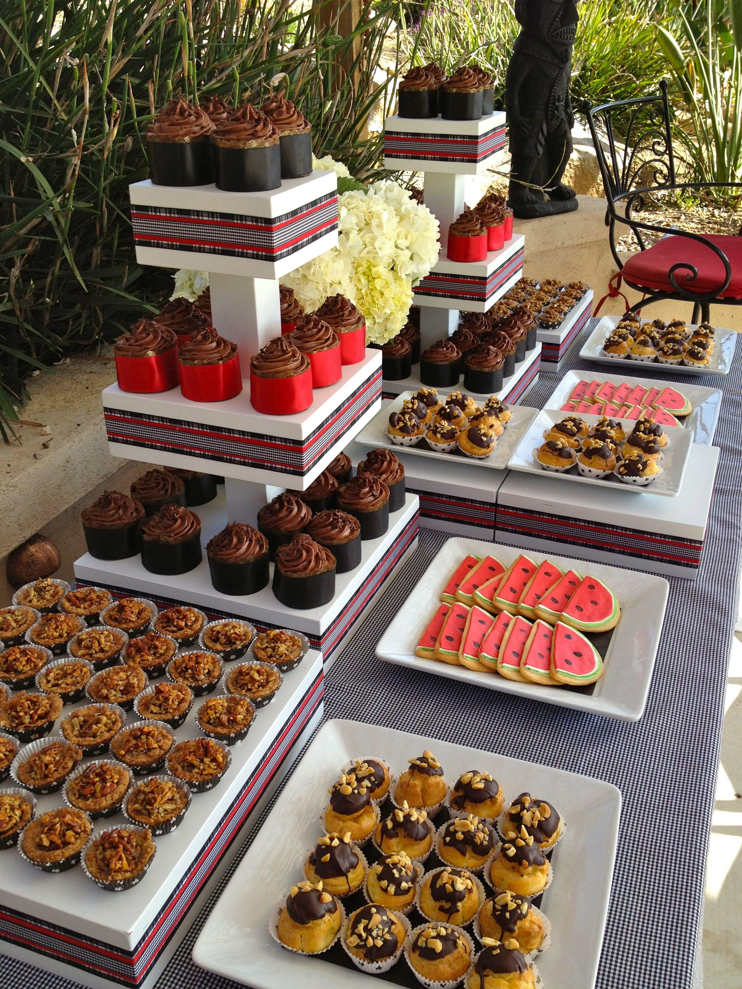 Dessert Wedding Reception  Dessert table at backyard wedding reception