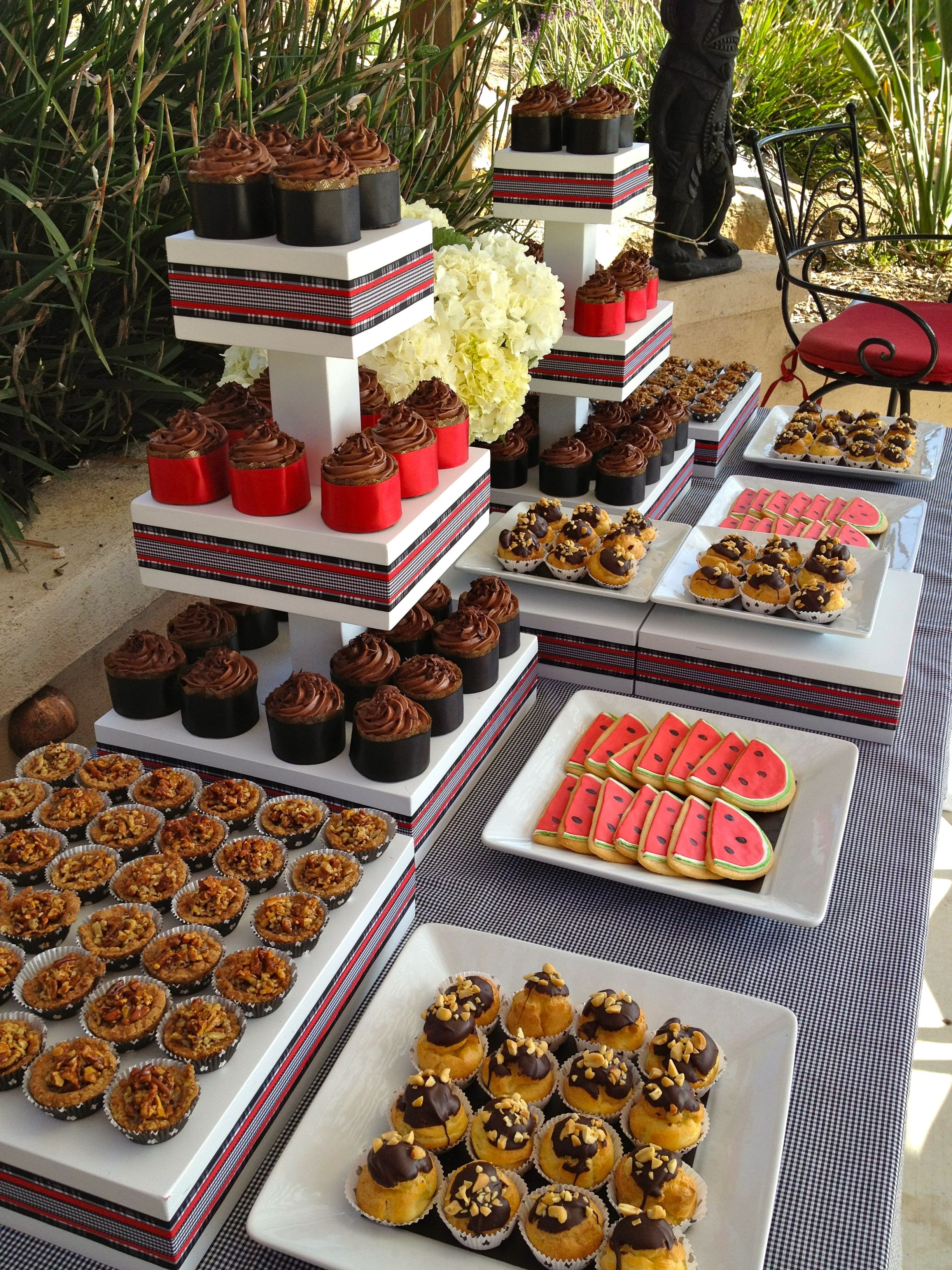Desserts For Wedding Receptions  Dessert table at backyard wedding reception