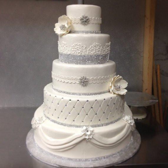 Diamond Wedding Cakes  Wedding Cake Diamond Ribbon Rhinestone Silver by