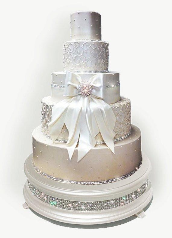 Diamond Wedding Cakes  18 inch Ivory Pearl Diamond Wedding Cake Stand