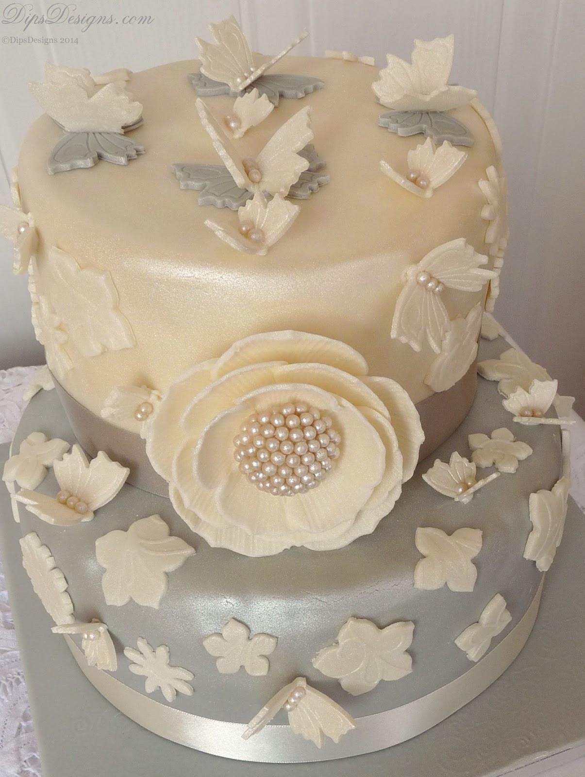 Diamond Wedding Cakes  DipsDesigns Ivory & Platinum Diamond Wedding Anniversary Cake