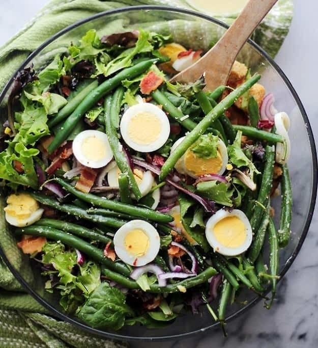Different Easter Dinner Ideas  Green Beans Egg Salad with Garlic Parmesan Vinaigrette