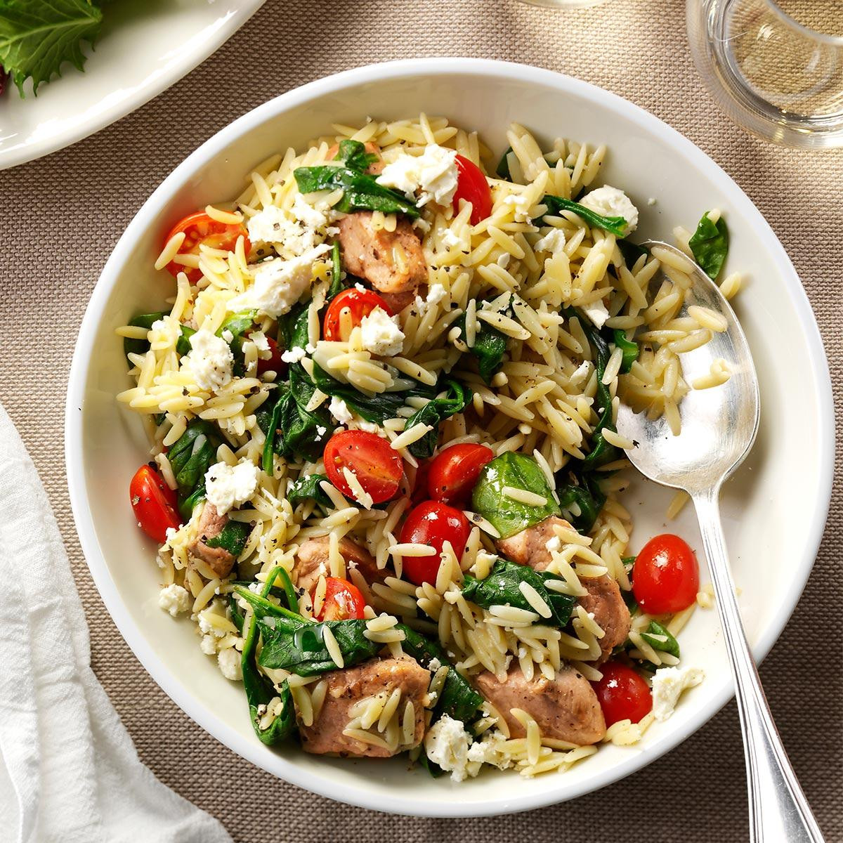 Dinner Recipe Healthy  Mediterranean Pork and Orzo Recipe