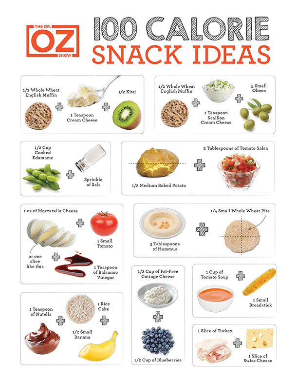 Doctor Oz Healthy Snacks  100 Calorie Snack Cheat Sheet