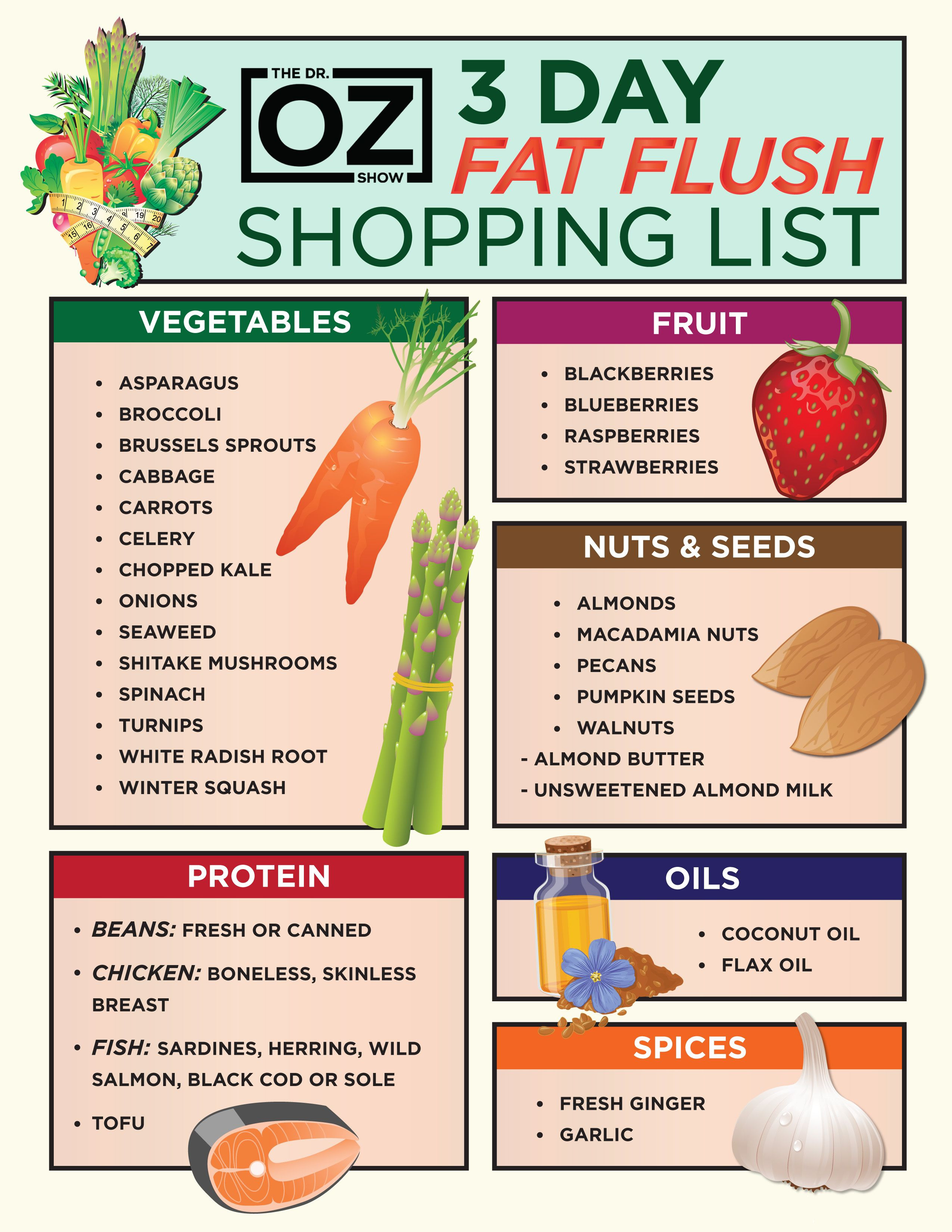 Doctor Oz Healthy Snacks  3 Day Fat Flush Shopping List The Dr Oz Show
