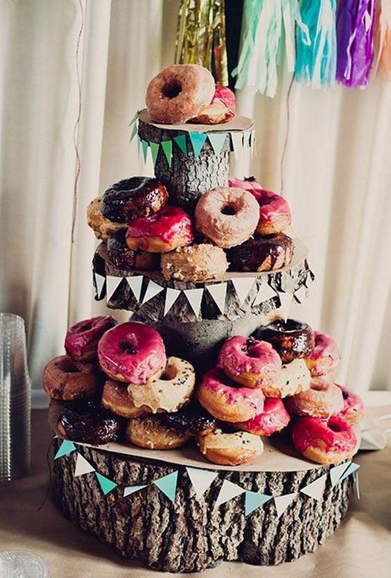 Donut Wedding Cakes  100 Scrumptious Wedding Donuts Displays & Ideas