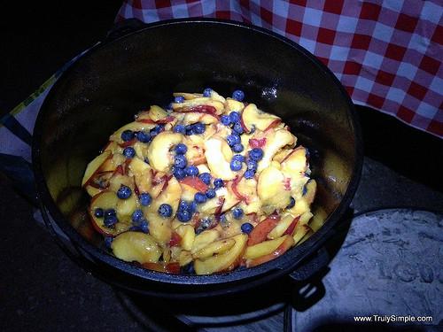 Dutch Oven Cobbler Camping  Dutch oven cobbler over a campfire