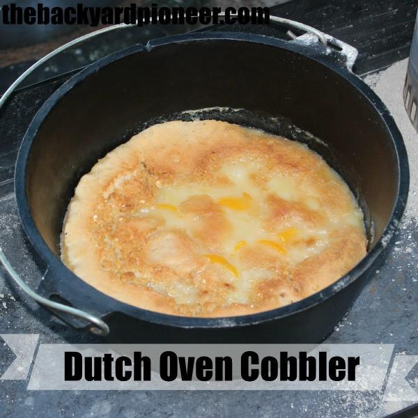 Dutch Oven Cobbler Camping  Dutch Oven Peach Cobbler The Backyard Pioneer