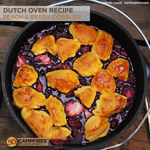 Dutch Oven Desserts Camping  Lodge dutch oven recipe camping peach cobbler jenny ruhl