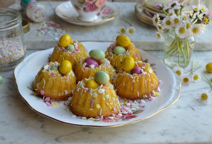 Easter Bundt Cake  Little Easter Cakes Mini Chocolate Drizzle Bundt Cakes
