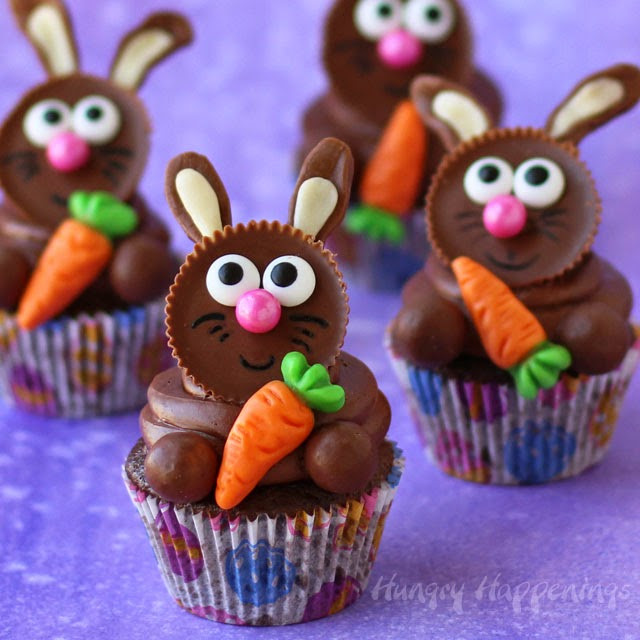 Easter Bunny Cupcakes  Reese s Cup Easter Bunny Cupcakes Hungry Happenings