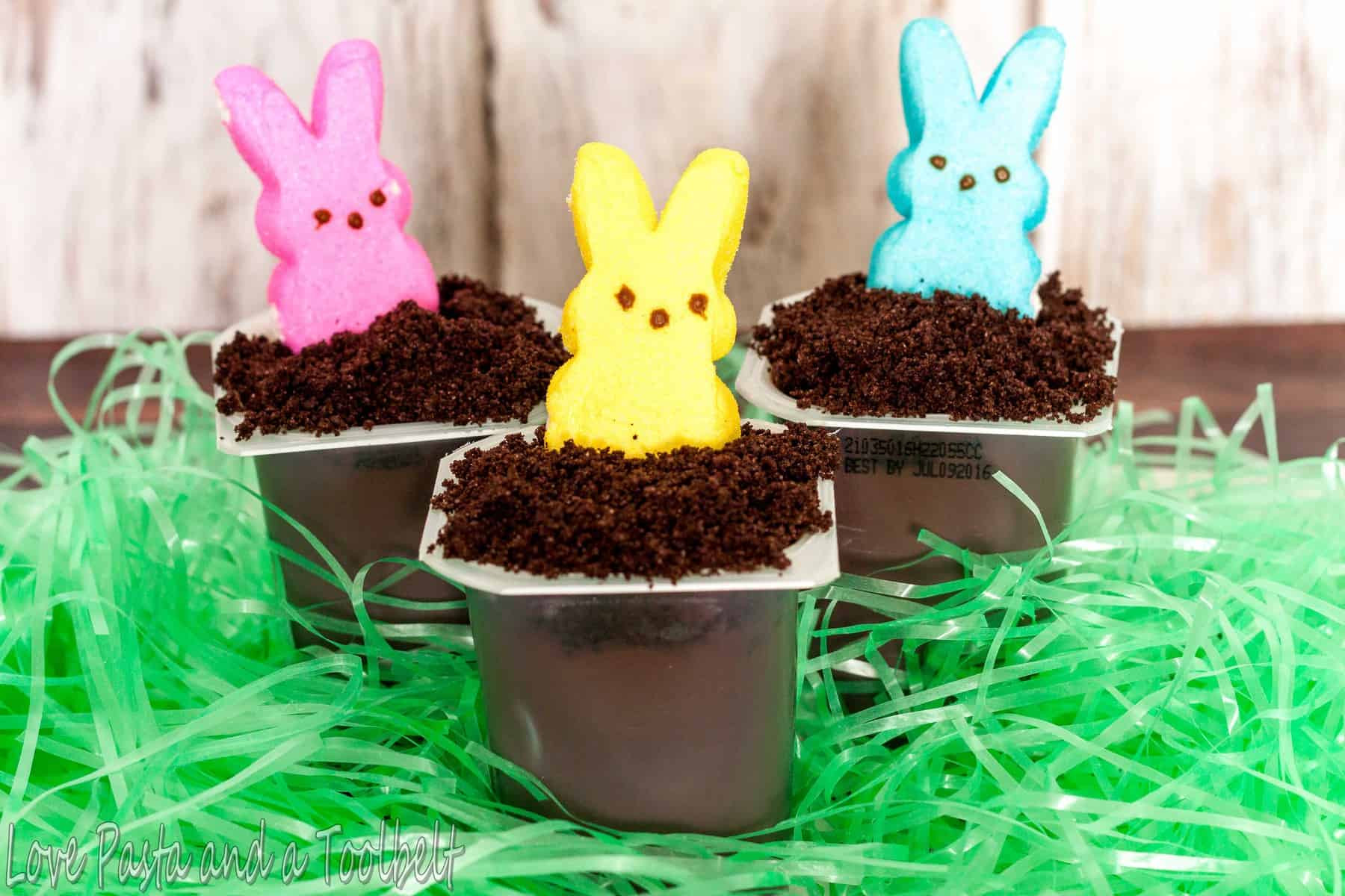Easter Bunny Desserts  Easter Bunny Hole Pudding Cups Love Pasta and a Tool Belt