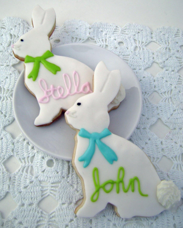 Easter Bunny Sugar Cookies  Easter Bunny Sugar Cookies Personalized 2 Cookies