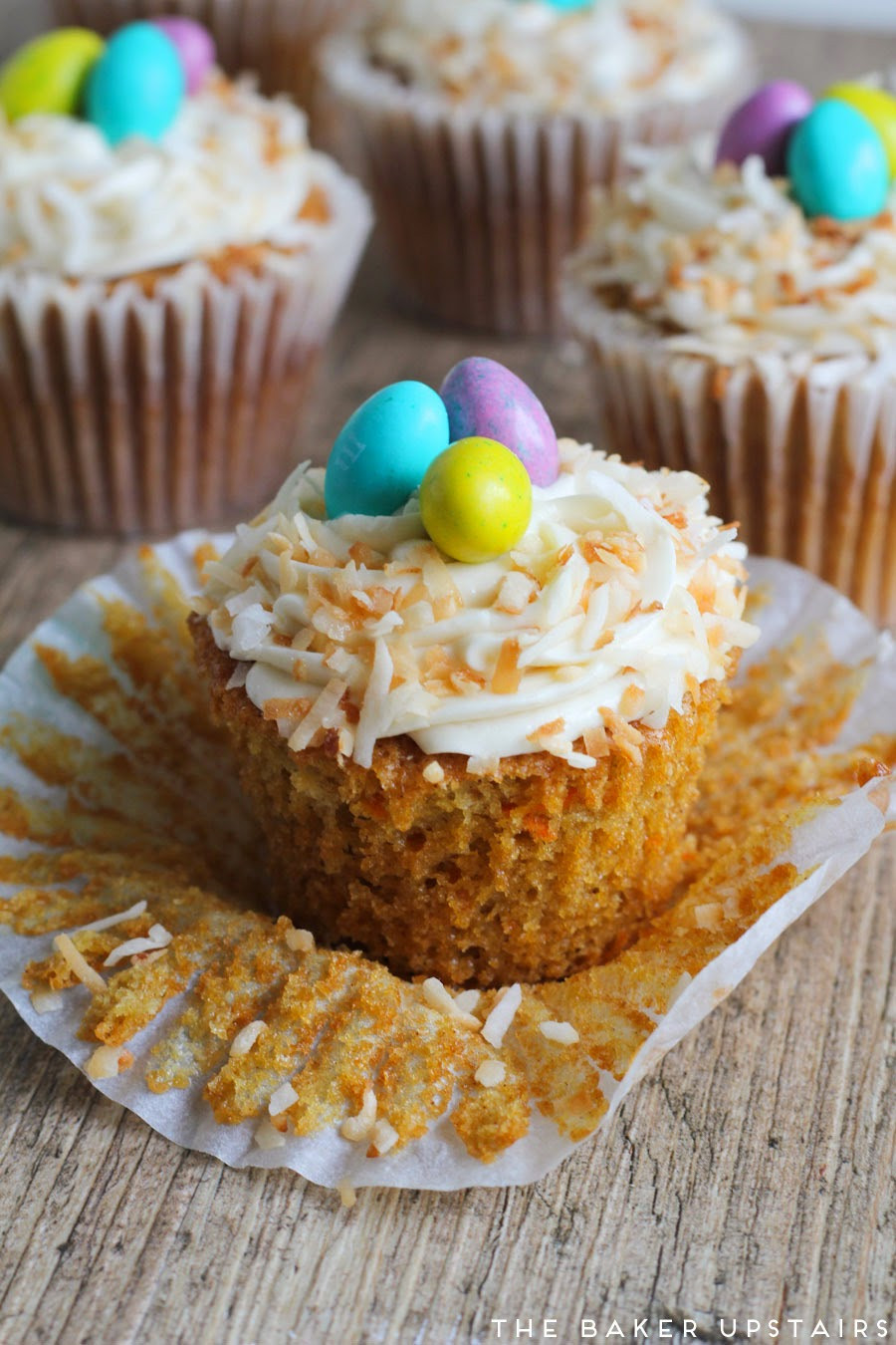 Easter Carrot Cake Cupcakes  The Baker Upstairs Easter carrot cupcakes