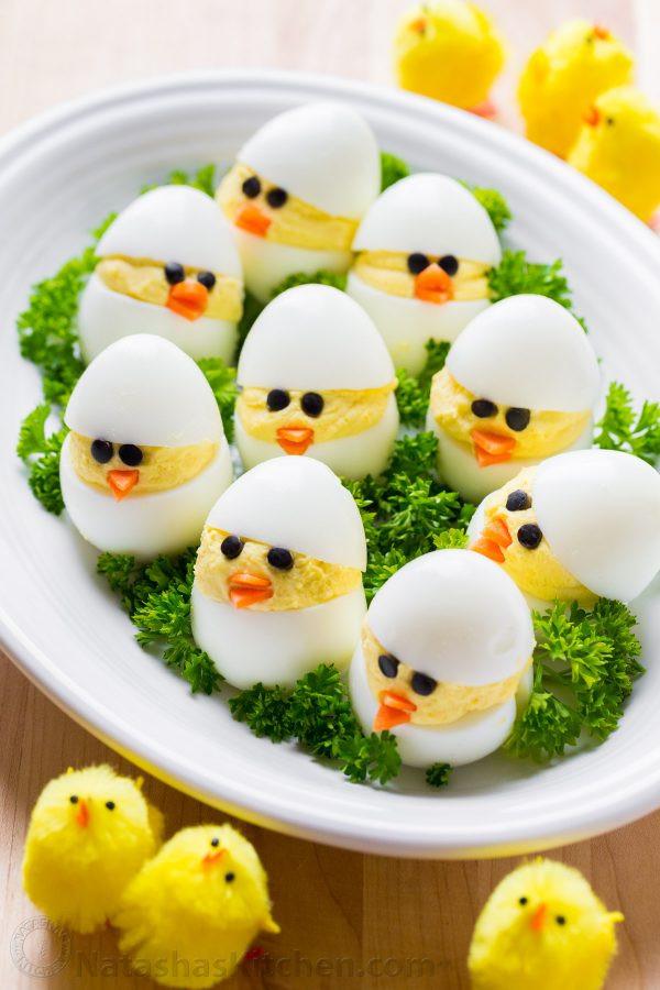 Easter Chick Deviled Eggs  Easter Egg Recipe Deviled Egg Chicks NatashasKitchen
