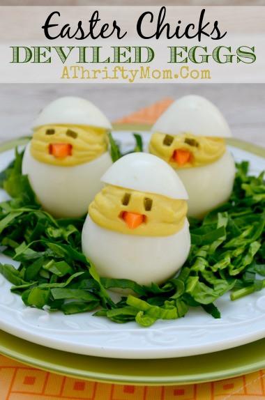 Easter Chick Deviled Eggs  Egg Recipes for Easter uses for leftover Easter eggs