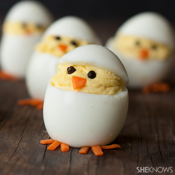 Easter Chick Deviled Eggs  Turn deviled eggs into adorable hatching chicks