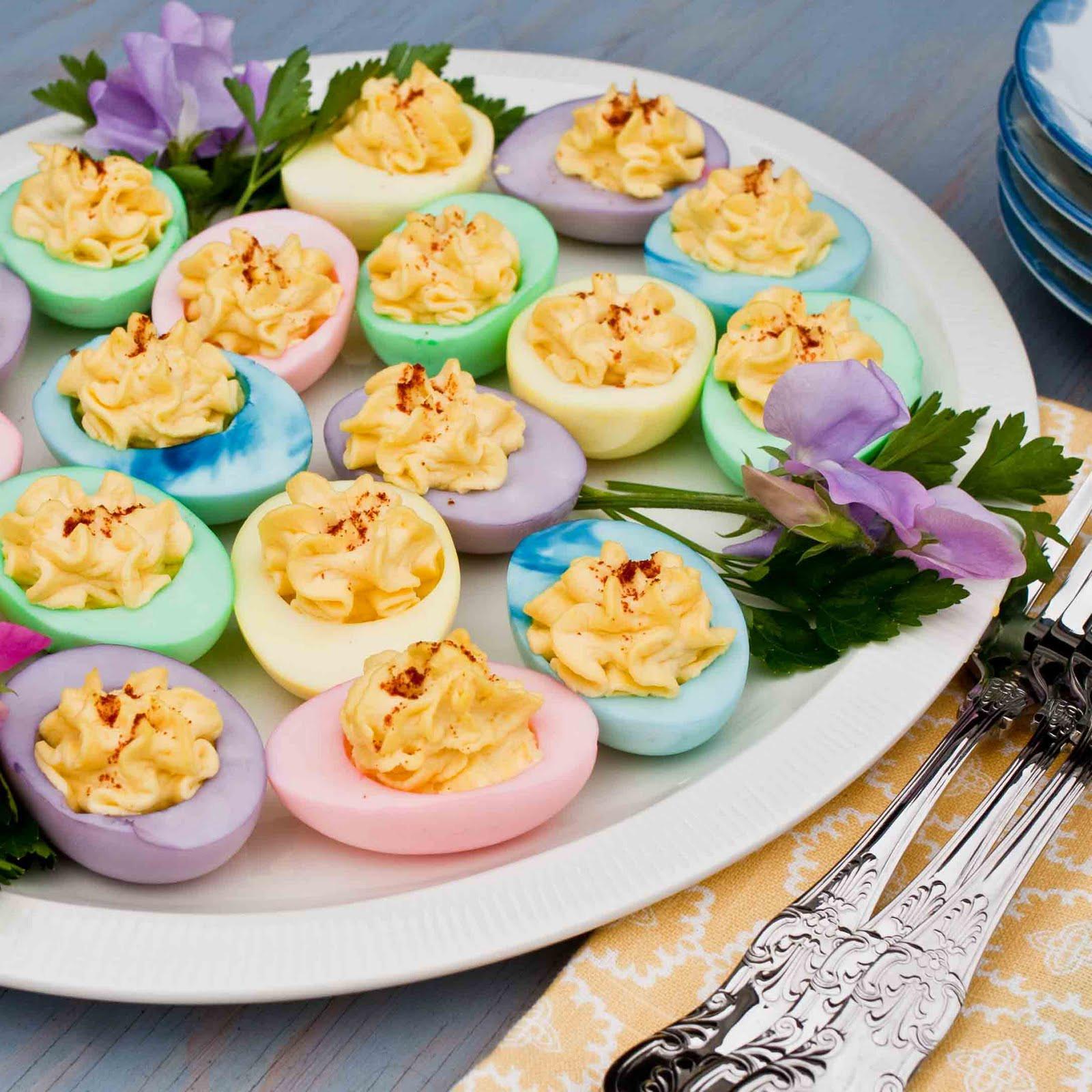 Easter Colored Deviled Eggs  FOODjimoto Easter Eggs