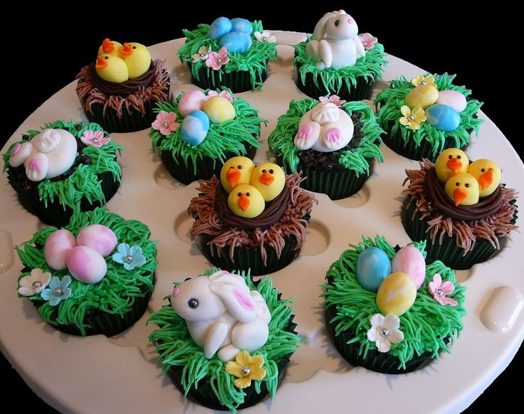 Easter Cupcakes Pinterest  Easter Cupcakes featuring bunnies chicks in nests and