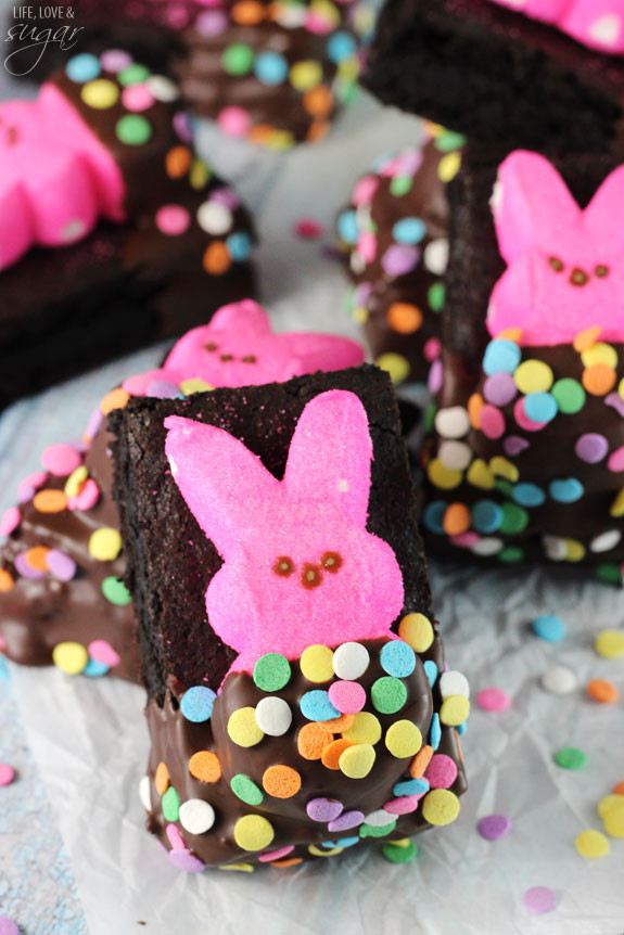 Easter Desserts With Peeps  Bunny Peeps in a Blanket Brownies Life Love and Sugar