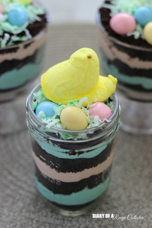 Easter Desserts With Peeps  Easter Peeps Dirt Pudding Cups Diary of A Recipe Collector