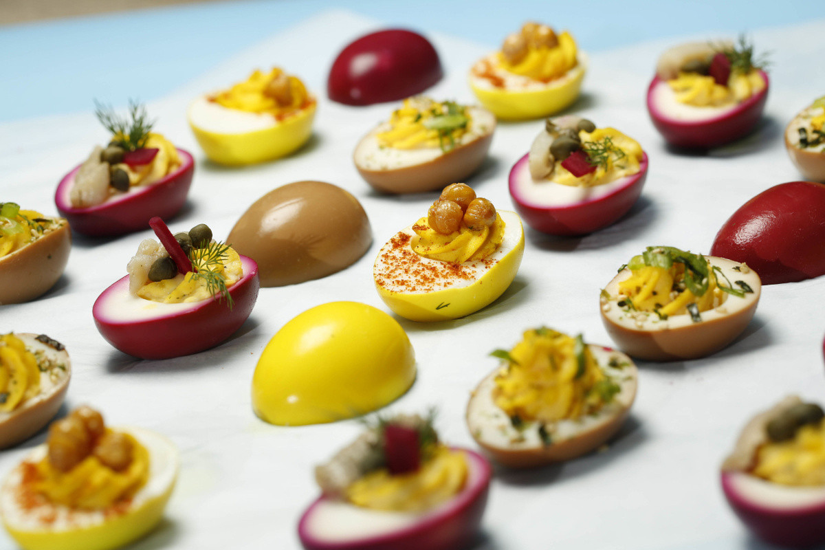 Easter Deviled Eggs  Celebrate Easter with these tricked out devilled eggs
