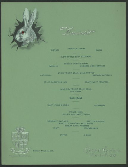 Easter Dinner Albany Ny  Easter Menus From History Spring Lamb to Sea Turtle