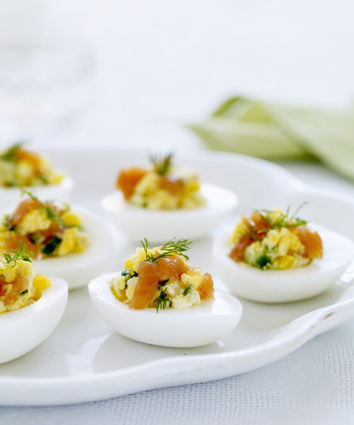 Easter Dinner Appetizers  Eggs Stuffed with Smoked Salmon and Cucumbers Easter
