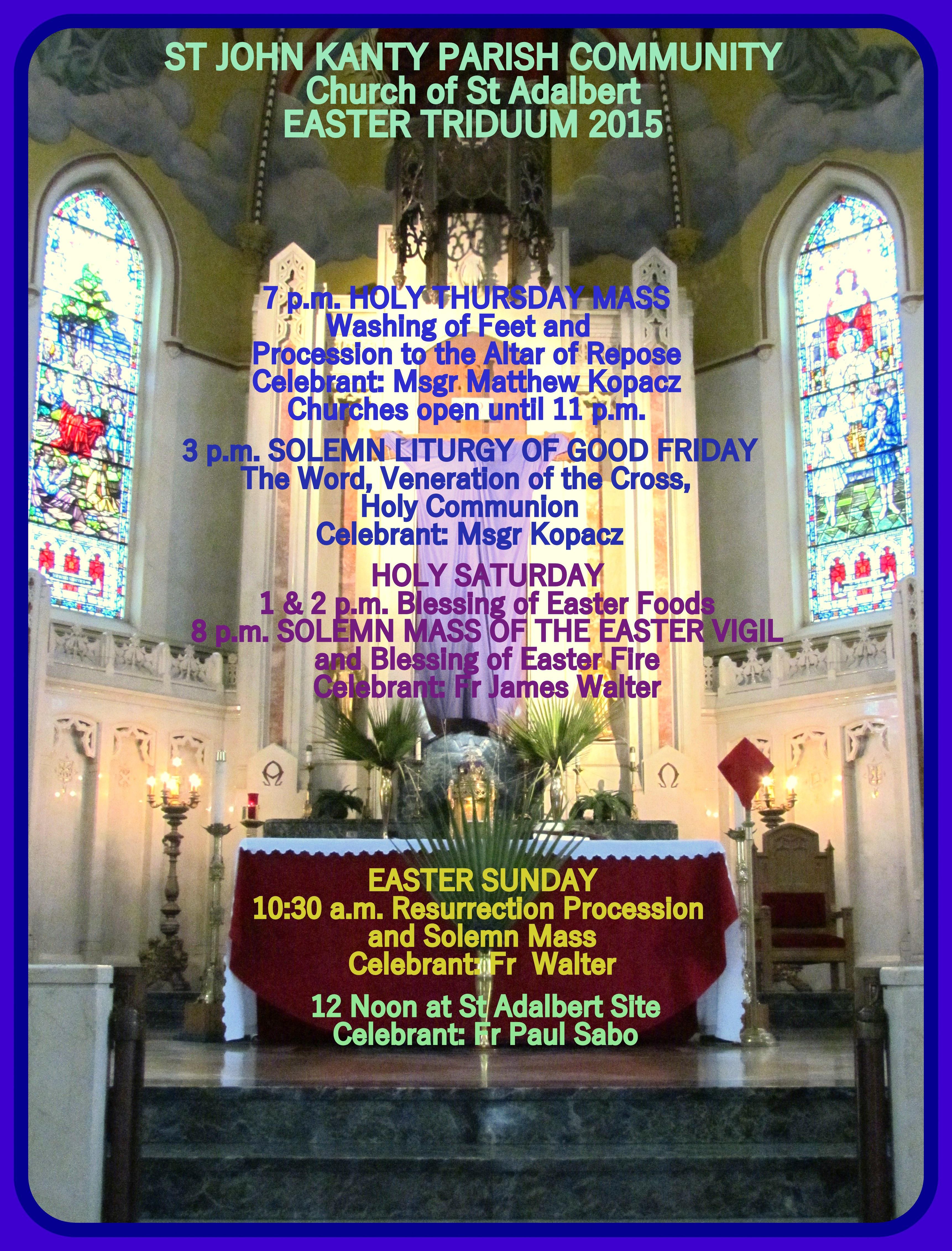 Easter Dinner Buffalo Ny  EASTER TRIDUUM AT ST JOHN KANTY PARISH CHURCH OF ST