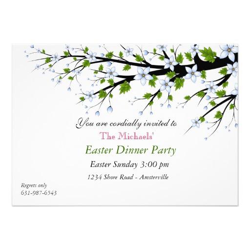 Easter Dinner Invitations  Cherry Blossoms Easter Dinner Party Invitation