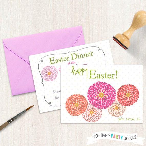 Easter Dinner Invitations  Easter Dinner Invitation Spring Easter Invite Flowers