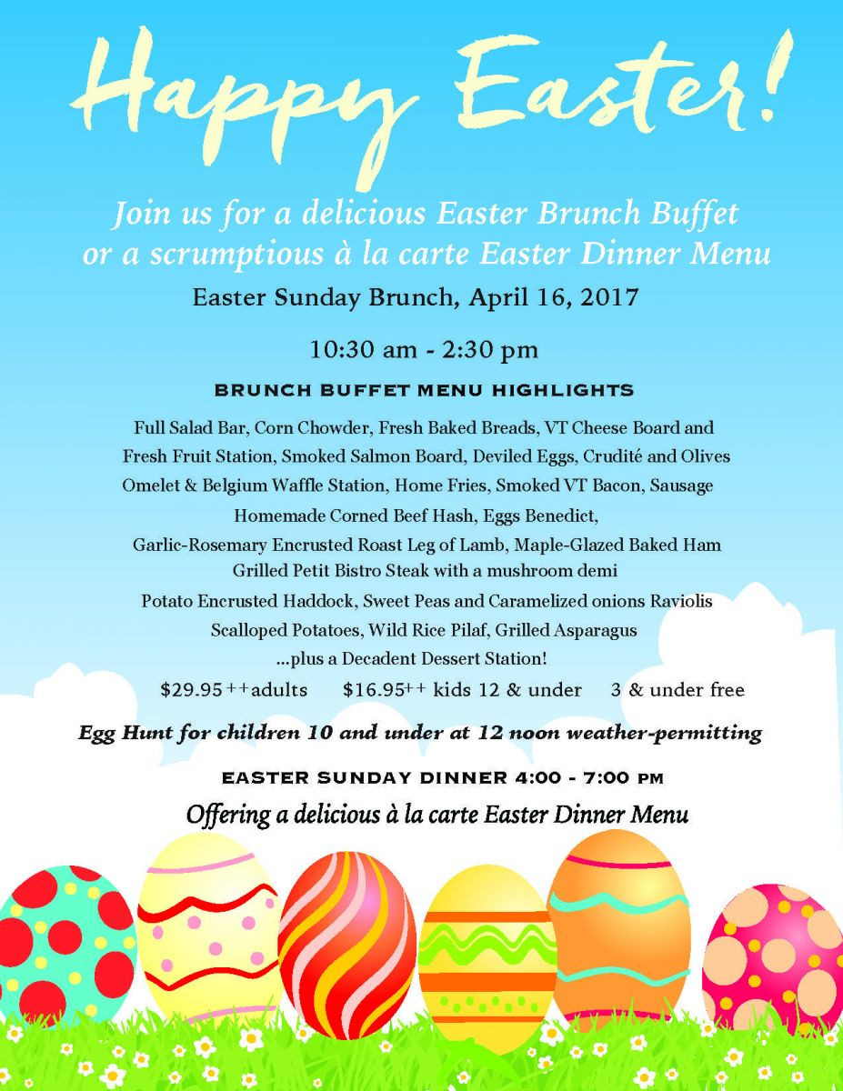 Easter Dinner Menus  Mt Anthony Country Club Grille 802 442 2617