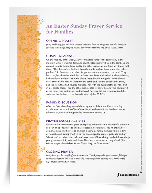 Easter Dinner Prayer Catholic  Catholic Easter Resources for Families