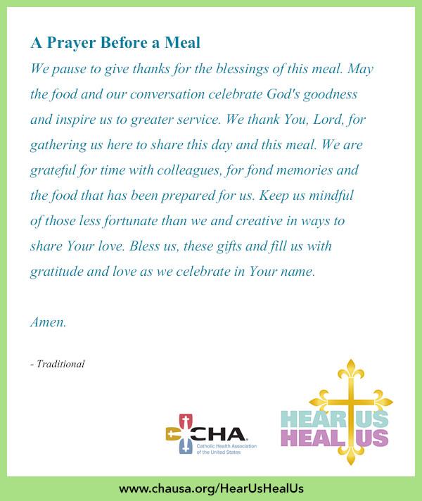 Easter Dinner Prayer Catholic  A Prayer Before a Meal HearUsHealUs Prayer