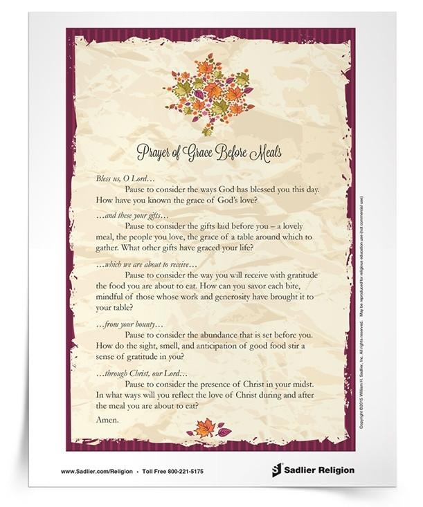 Easter Dinner Prayer Catholic  Thanksgiving Grace