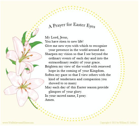 """Easter Dinner Prayer  We invite you to a """"Prayer for Easter Eyes"""" and"""